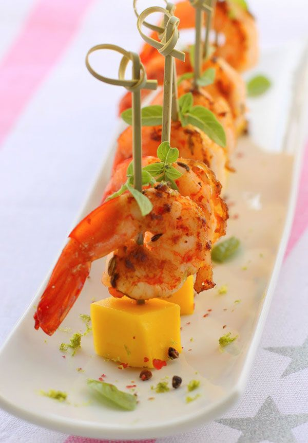 Lunch catering in Manhattan with shrimp skewers